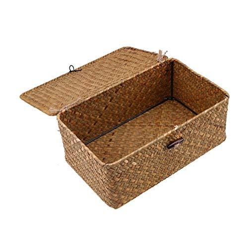 Hemoton - 3 cestas de mimbre con tapa para almacenaje de té con tapa, diseño de paja