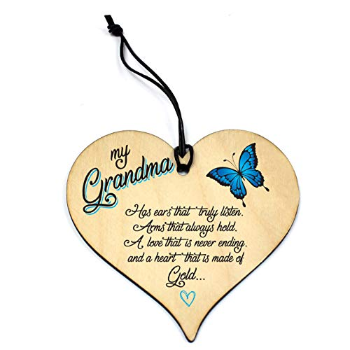 Wood Heart GRANDMA Birthday Anniversary / Christmas Gift Novelty Plaque...