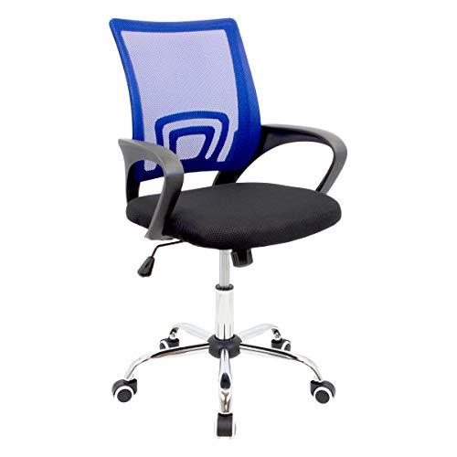 CashOffice - Silla de Escritorio Ergonómica, Silla de Oficina Giratoria con Respaldo Transpirable (Azul)