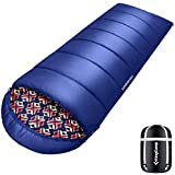 KingCamp Sleeping Bag for Adults & Youth, Soft and Warm Printing Sleeping Bag, Comfortable and Lightweight for Outdoor Camping Hiking Traveling - Large Blue
