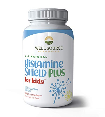 Histamine Shield Plus for Kids™ All Natural Antihistamine Supplement: Works On All Allergy Types. Pollen, Pet Dander, Dust, Mold, and Odor Allergies. 60 Tablets