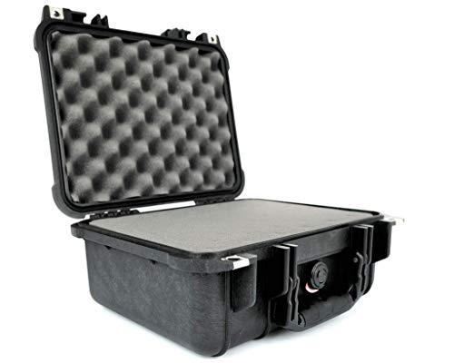 PELI 1400 Koffer für Kamera, Linsen, Drohnen, Empfindliches Elektronisches Equipment, IP67 Wasser- und Staubdicht, 9L Volumen, Hergestellt in Deutschland, Mit Schaumstoffeinlage (Anpassbar), Schwarz