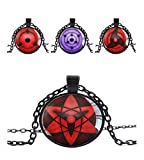 Naruto Master Online Write round eye Pendant Chain Necklace Plastic for Anime Cosplay - Metal(4 pack)