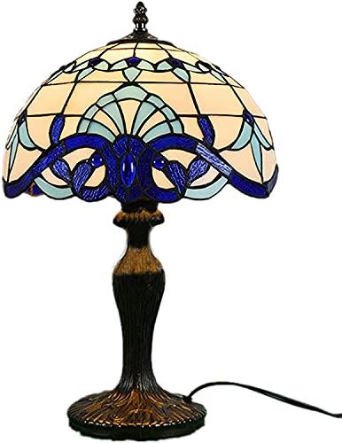 TOPNIU Vidriera Tiffany estilo lámpara de mesa 19 pulgadas alto vidrieras blanco azul marino barroco industrial rústico acento lujoso hotel escritorio luz café bar