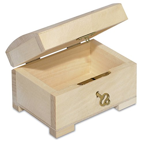 Creative Deco Petite Boîte en Bois avec Fermeture à Clé | 10,6 x 7,5 x 7,5 cm | Clé Incluse | Coffret à Décorer | Parfait pour Ranger Les Bijoux, Objets, Jouets et Outils
