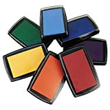Best Stamp Non-Toxic Rainbow Ink Pad Set for Rubber Stamps - Contains 7 Hues of Waterbase Ink, DIY Craft Stamp...