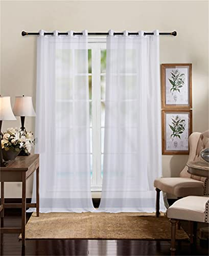 """YilianYimeng White Sheer Curtains 102 Inches Long, Semi Sheer Voile Grommet Top Window Treatments for Bedroom Decor, 2 Panels 52"""" W x 102"""" L"""