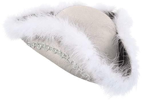 narrenkiste O28085-25 weiß mit Silberborte Kinder-Damen-Herren Funkenhut (Kopfweite KW 53-54)