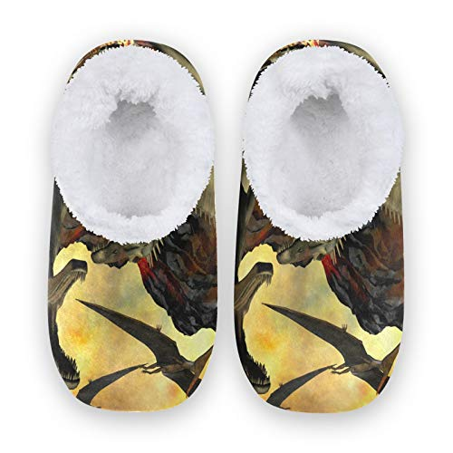 TropicalLife MLHlover 3D Animal Dinosaur Mujeres Hombres Cerrado Back House Pantuflas Confort Coral Fleece Fuzzy Feet Zapatillas de casa para interiores y exteriores, color Multicolor, talla X-Large
