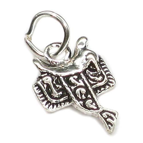 Silla 2D pequeño de plata de Ley de 925, encanto 1 x caballo de montar encantos SSSC128