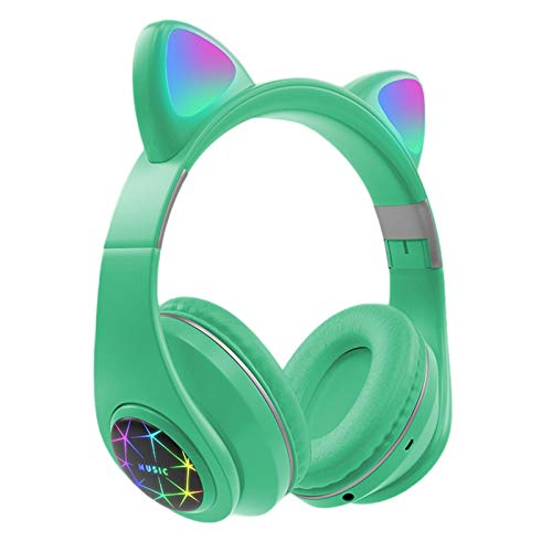 Blesiya Auriculares estéreo para Gaming con micrófono para PS4, PS5, Xbox One, Ordenador, teléfono móvil, Auriculares de oído de Gato Desmontables con Sonido - Verde