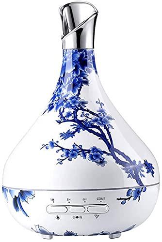 FGDFGDG Porcelana Azul Aroma Esencial Aceite Difusor De Madera Grano Ultrasónico Enfriador De Niebla Humidificador 7 Color LED Luz De Regalo