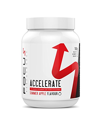 Focus Performance Accelerate, 7-in-1 Supplement, Pre-Workout, BCAA Powder with Creatine and Glutamine, for Gym Performance, Strength Development and Muscle Repair | Summer Apple Flavour, 500g