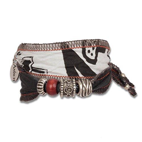 Anisch Hombre Herren Armband Black Tuareg - Tribal Beads Männer-Armband aus afrikanischen Stoffen Tribal Beads - ArtNr. 94400-d