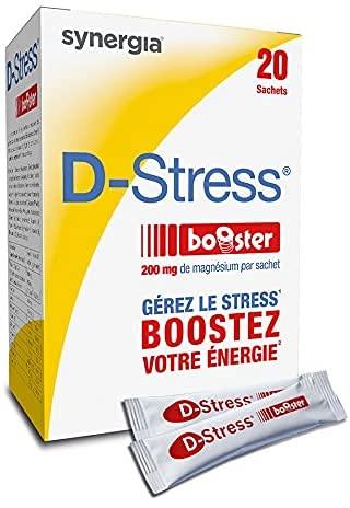 Synergia D-Stress Booster 20 sachets | Magnésium hautement assimilé | Stoppe les montées de stress en 30 minutes chrono