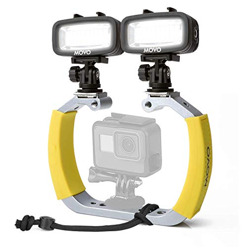 Movo Diving Rig Bundle with 2 Waterproof LED Lights - Compatible with GoPro HERO3, HERO4, HERO5, HERO6, HERO7, HERO8, Max, Session, and DJI Osmo Action Cam - Scuba Accessories for Underwater Camera