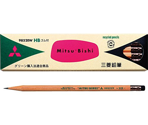 Mitsubishi Pencil recycling pencil with pencil eraser 9852EW hardness HB K9852EWHB