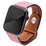 Kluck Correa de piel para Apple Watch Series 6 5 4 3 2 1 SE 44 mm 42 mm 38 mm 40 mm iWatch, correa de cuero para hombre y mujer, correa de repuesto (38 mm/40 mm, rosa)