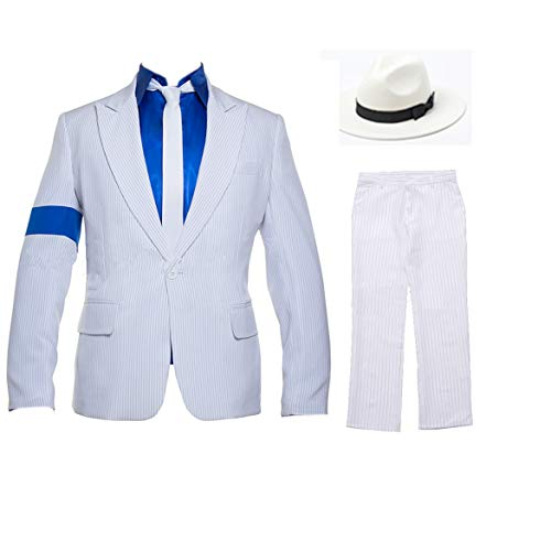 White Smooth Criminal Costume Armband Suit Jacket for Kid and Adult to Cosplay Michael Jackson (Kid:150cm/59 inch, White)