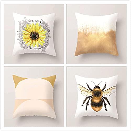 Fundas de Cojín Juego de 4, Crisantemo Amarillo Funda de Almohada Lino de algodón con Cremallera Invisible Cojín Cuadrado, para Funda de Cojines para Sala de Estar Sofás Decorativa 55x55cm(22x22in)