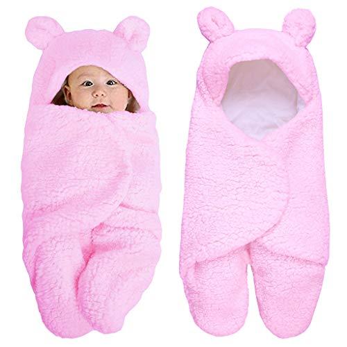 """cuigu recién nacido niña niño ropa para bebé, manta de bebé Wrap invierno suave algodón saco de dormir con capucha de peluche 0–12meses, algodón, rosa, 11.42""""x21.65"""""""