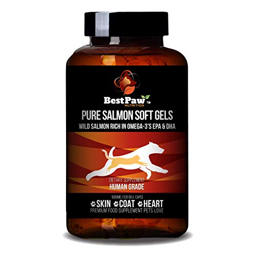 Best Paw Nutrition - Pure Salmon Soft Gels for Dogs & Cats - Omega 3 Capsules Supplement - Skin & Coat, Eyes, Heart Health - Immune Support Vitamins Pets Love - 1000mg