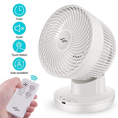VIFLYKOO Ventilador Silencioso de Turbo,Ventilador para Mesa con Control Remoto,fan circulación de aire portátil de 6 velocidades oscila vertical y horizontalmente,temporizador de 7 horas (blanco)