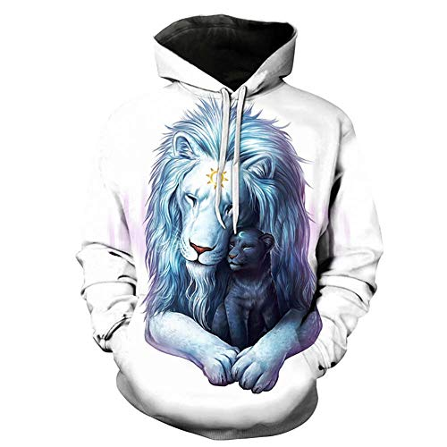 Sweat-Shirt Unisexe_Hoodies Pull 3D Imprimer Pull LéGer Poches Kangourou Lion/Panda/Loup/Chat Imprimé S M L XL 2XL 3XL