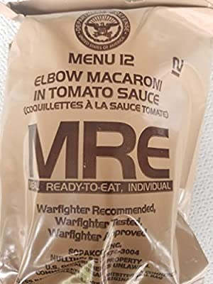 LoJo Surplus 2021 Genuine Military MRE Meals Ready to Eat with Inspection Date 2021 or Newer (Elbow Macaroni in Tomato Sauce)
