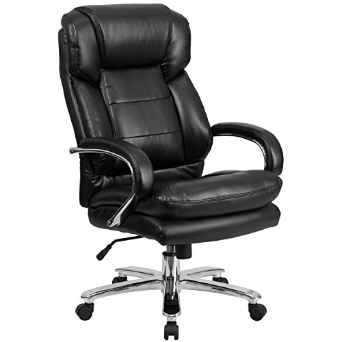 Flash Furniture Big & Tall Office Chair | Black Leather Swivel Executive Desk Chair with Wheels, BIFMA Certified