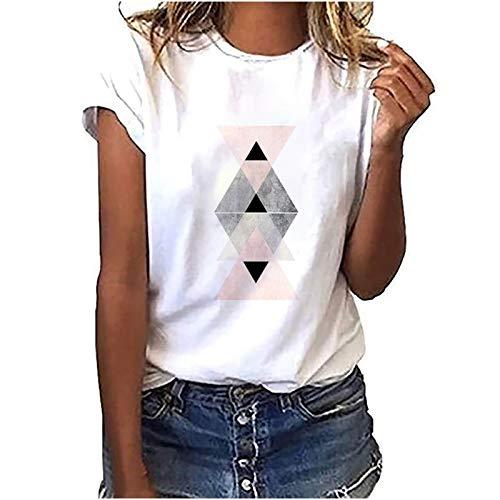 YANFANG Camiseta Holgada de Cuello Redondo para Mujer,con Estampado gráfico geométrico a la Moda para Mujer,Camisas Blusas Moda Casual Primavera Otoño Sueltas Shirts Fiesta