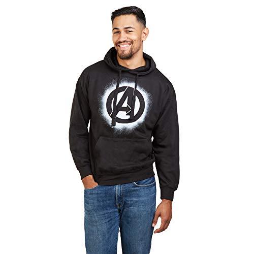 Marvel Avengers Stencil Logo Hood Sudadera con Capucha, Negro (Black Blk), L para Homb