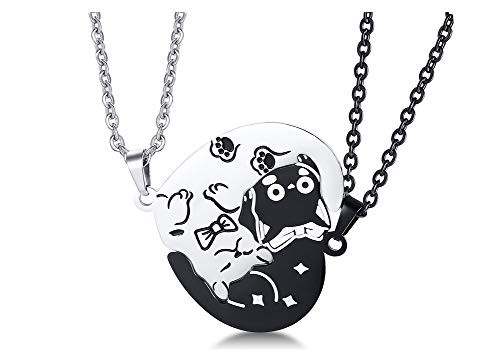 PJ Stainless Steel Yin Yang Pet Cat Puzzle Piece Matching Couple Pendant Necklace,Animal Lover Gift,Cat Necklace A