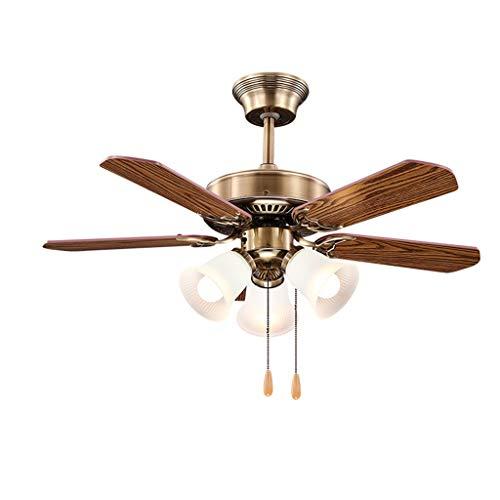 """Deckenventilator mit Beleuchtung Amerikanische Deckenventilator Licht mit Fan Blade 3 Glaslampenschirm Zugschalter Wohnzimmer Study Beleuchtung Kronleuchter, 36\"""" Deckenventilator für Wohnzimmer Schlaf"""
