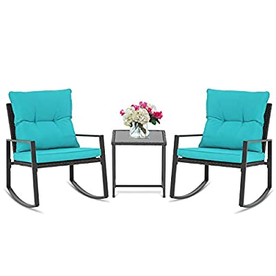 SUNCROWN Outdoor 3-Piece Rocking Bistro Set: Black Wicker Furniture-Two Chairs with Glass Coffee Table (Light Blue Cushion)
