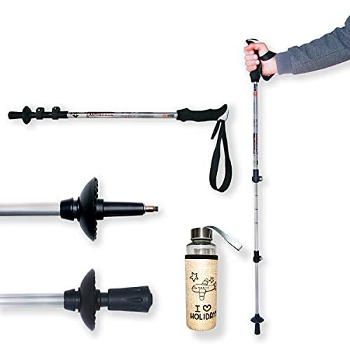 Bastón de Senderismo Pro Extensible Ajustable 62-135cm + Botella, con Palo telescópico de Aluminio Ligero para Caminar, Trekking, Marcha nórdica, Walking, Alpinismo, Viajes y Excursiones