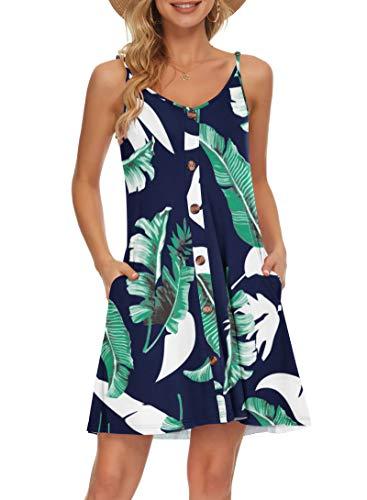 AUSELILY Abito Estivo da Donna con Scollo a V Abbottonato con Scollo a V, Vestito Casual da Spiaggia con Tasche(Stampa Blu,Medium)