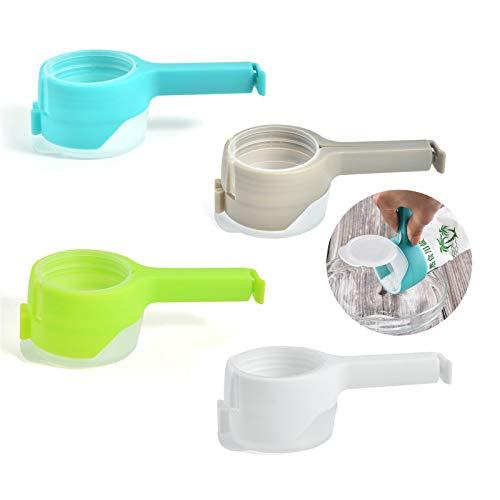 4 Pcs Clip Seal And pour Bag Clip Set,Mantieni Alimenti freschi Clip di Tenuta con beccuccio versante,Facile versamento di Sacchetti per Alimenti Perfetto per Spuntini Cereale Pane Biscotti