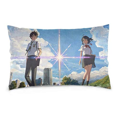 zhenglongbaihuodian Pillow Case Anime Your Name Rectangular Pillowcases Throw Cushion Covers Pillow Cover for Car Sofa Bed Home 14x20inch