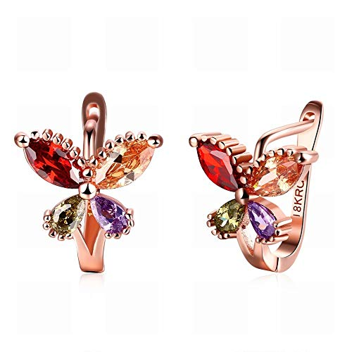JY a Pair of Ladies Butterfly-Shaped Four-Color Diamond Earrings Rose Gold Jewelry/Zirconia/Small Exquisite/Crystal Element Drop Earrings Novelty Jewelry/As Shown