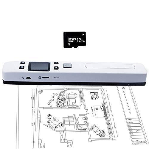 EJOYDUTY Escáner Portátil de Documentos de Imagen de Libro de Alta Velocidad, HD 1050 dpi Color Handheld Mini HandyScan, Tamaño Máximo de Escaneo A4, para el Aula Oficina Biblioteca Banco,Blanco