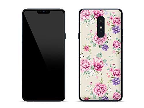 etuo Hülle für LG G7 Fit - Hülle Fantastic Hülle - Pastell-Röschen Handyhülle Schutzhülle Etui Hülle Cover Tasche für Handy