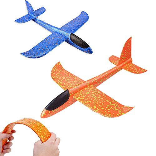 2 piezas de avión de espuma de poliestireno, juguetes de avión, planeador de tiro al aire libre, planeador, lanzamiento manual de espuma, modelo de vuelo, equipo de juegos para niño niña cumpleaños
