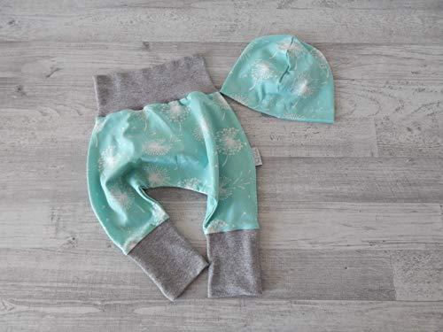 Babyset, Erstlingsset Gr. 56/62. Jersey mint mit Pusteblumen. Bündchen hellgrau meliert. 2teilig (Hose und Mütze) 95% Baumwolle, 5% Elasthan