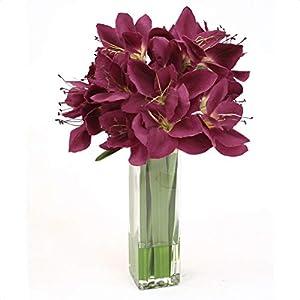 Silk Amaryllis in Tall Square Vase