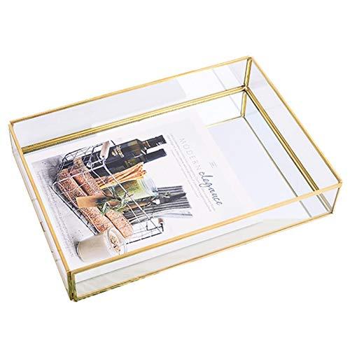 Bandeja de espejo vintage, rectangular de vidrio, exhibición de joyería, bandeja de almacenamiento decorativa, bandeja de espejo de estilo nórdico para cocina, bandeja de perfume para baño, dormitorio
