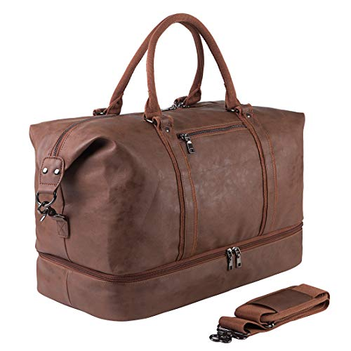Leather Travel Bag with Shoe Pouch,Weekender Overnight Bag Waterproof...