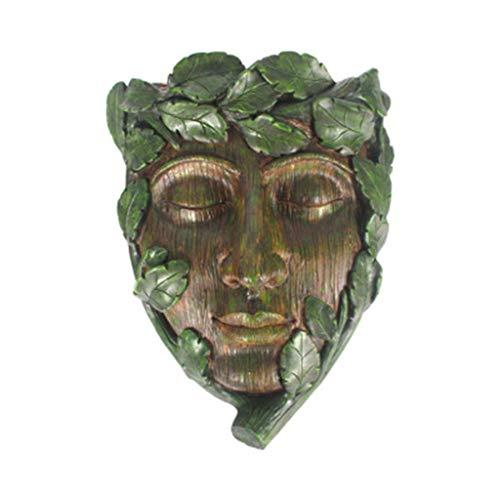 bluederstBciou若い男木の顔の装飾彫刻フラワープランターポット防水樹脂の装飾