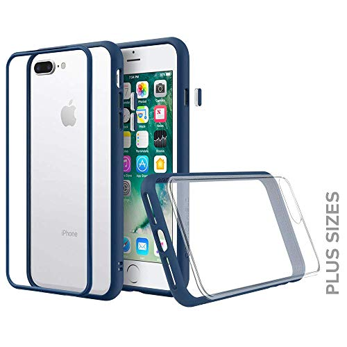 RhinoShield Modular Case compatible with [iPhone 8 Plus / 7 Plus]   Mod NX - Customizable Shock Absorbent Heavy Duty Protective Cover - Shockproof Royal Blue Bumper with Clear Back