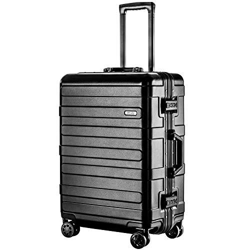 (ヴィヴィシティ)VIVIcity スーツケース アルミフレーム キャリーケース 機内持込可 大型 軽量 TSAロック 安心の1年保証 防塵カバー付き(M ブラック)